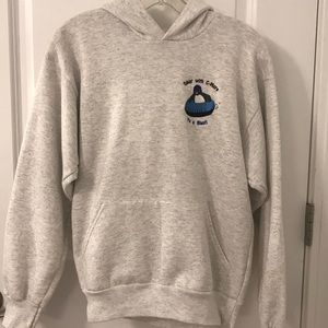 Hanes soft hoodie with penguin snow tubing